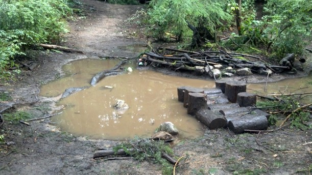 The Mud Puddle: everyone's favorite spot for play, rain or shine.
