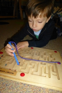 A magnetic marble maze.