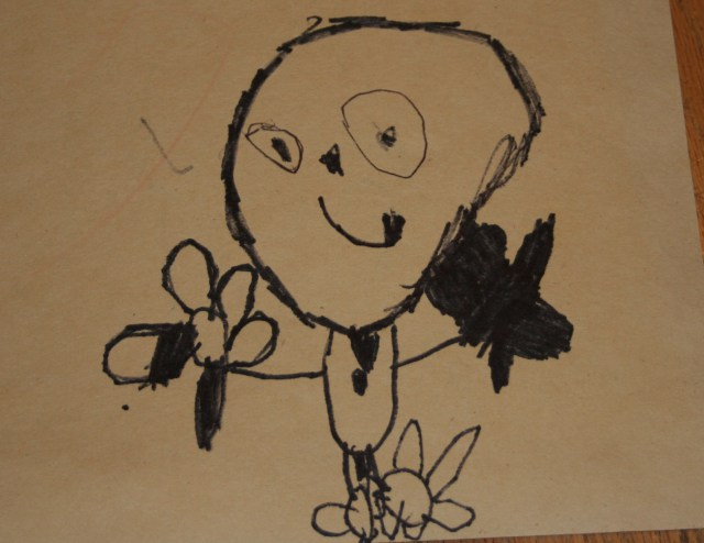 drawing by 4 yr old of man with belly button